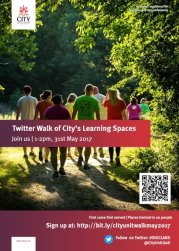 Poster to promote the Twalk at City University, London